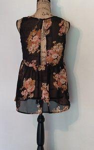 Open back sleeveless floral sheer blouse